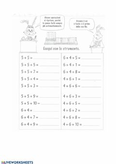 Interactive worksheet Addizioni3