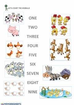 Interactive worksheet Farm animals and numbers to 9