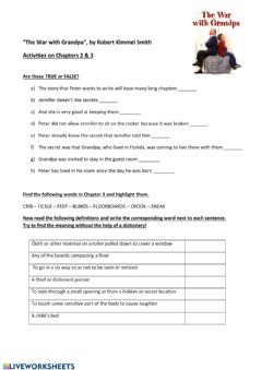 Interactive worksheet The War with Grandpa (Chapters 2 & 3)