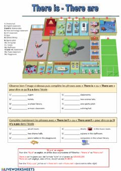 Interactive worksheet There is - There are (school map)