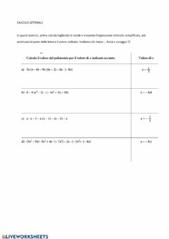 Interactive worksheet Calcolo letterale