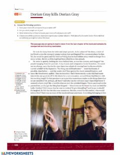 Interactive worksheet Dorian Gray kills Dorian Gray