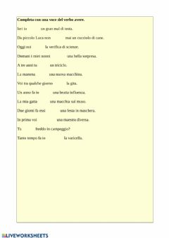 Interactive worksheet Il verbo avere
