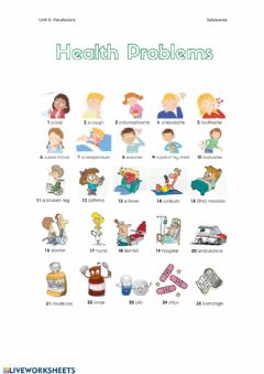 Interactive worksheet Health Problems (Vocabulary)