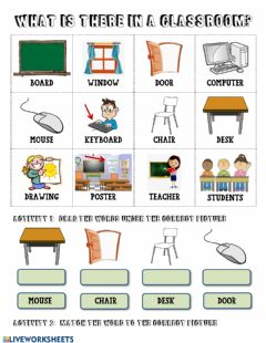 Interactive worksheet Classroom Vocabulary