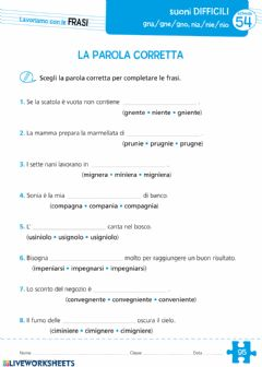 Suoni Difficili Interactive Worksheets