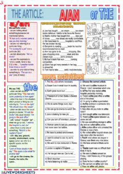 Interactive worksheet Articles 3