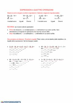 Interactive worksheet Espressioni senza parentesi