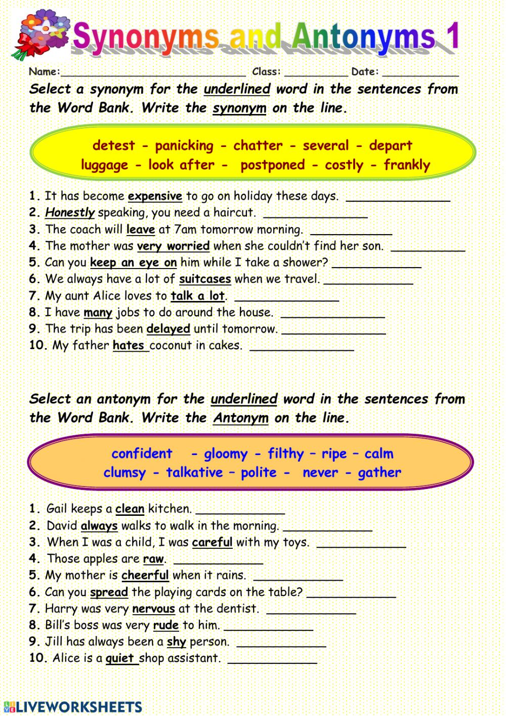Synonyms interactive worksheet