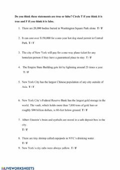 Interactive worksheet Interesting facts about New York
