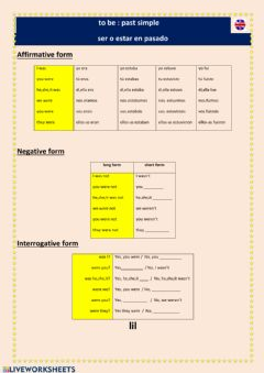 Interactive worksheet To be-past simple