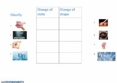 Interactive worksheet Change of shape or change of state
