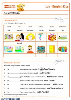 Interactive worksheet My Secret Team