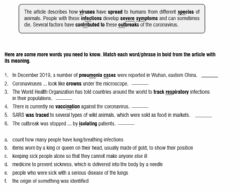 Interactive worksheet Coronavirus useful vocabulary