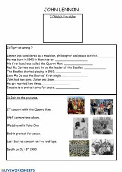 Interactive worksheet John Lennon