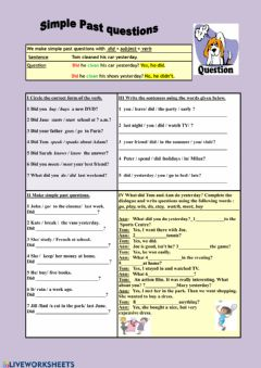 Interactive worksheet Simple past tense question drills