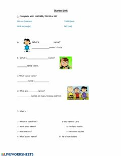 Interactive worksheet Possessive Adjectives and Basic Questions