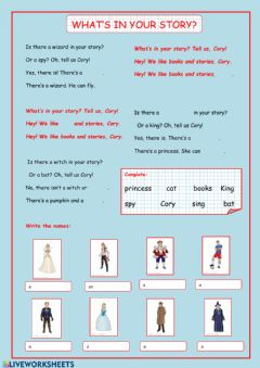 Interactive worksheet What's  in your story?