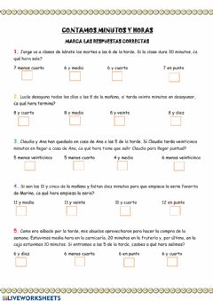 Interactive worksheet Horas y minutos