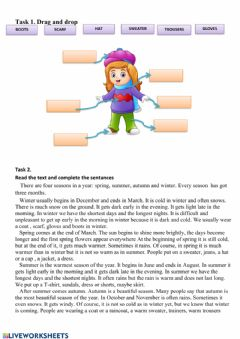 Interactive worksheet Seasons, weater and clothes