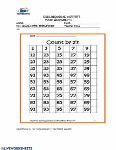Ficha interactiva COUNT BY 2s,