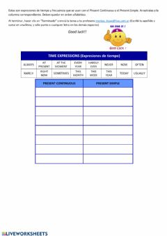 Ficha interactiva Time-frequency expressions Pres Simple and Cont