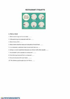 Interactive worksheet Restaurant etiquettes