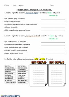Interactive worksheet Prueba lengua