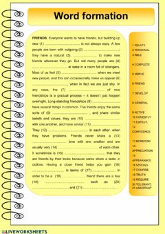 Interactive worksheet Word formation