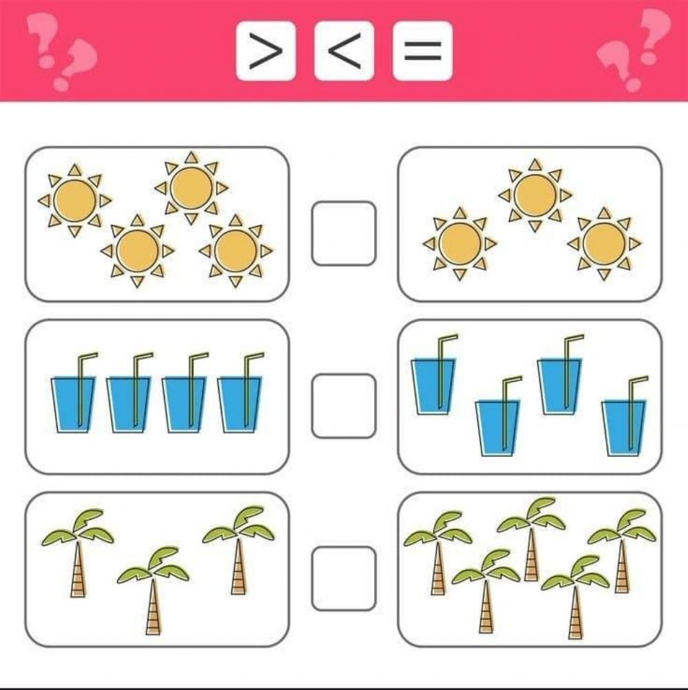 Equal,less and greater than symbols - Interactive worksheet