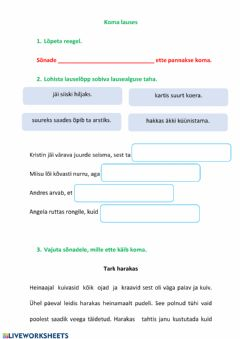 Interactive worksheet Koma lauses