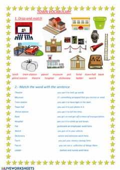 Interactive worksheet Town vocabulary