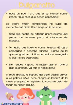 Interactive worksheet Pulgarcito