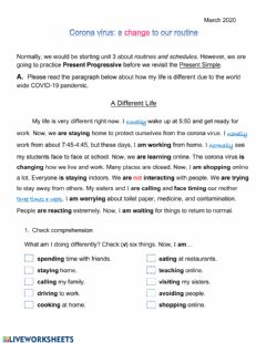 Interactive worksheet COVID-19 Present Continuous paragraph