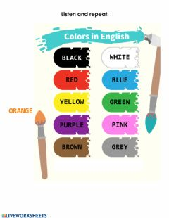 Interactive worksheet Colours in English