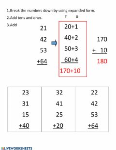 Interactive worksheet Adding up to 4 two-digit numbers