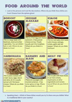 Interactive worksheet Food Around the World