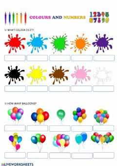Interactive worksheet Colours and numbers