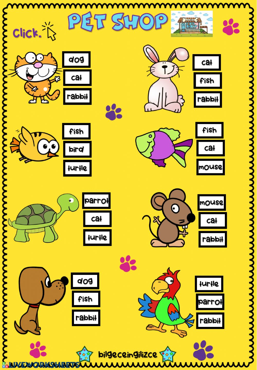 Pets (Multiple choice) - Interactive worksheet