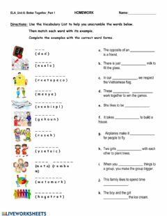 Interactive worksheet Unit 6 - Vocabulary Part 1 Review