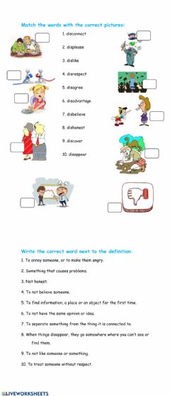 Interactive worksheet Prefix dis