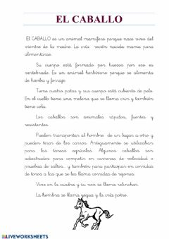 Interactive worksheet Animales:el caballo