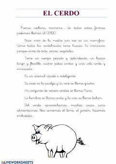 Interactive worksheet Animales:el cerdo