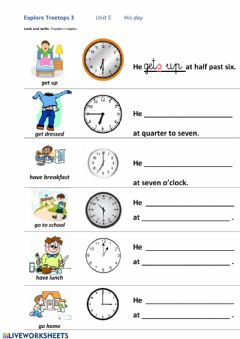 Interactive worksheet His day - daily routines