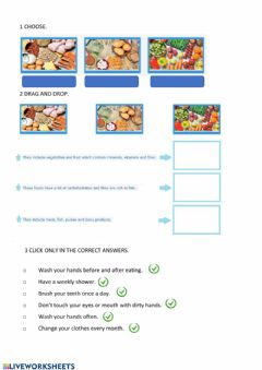 Interactive worksheet Carbohydrates and healthy