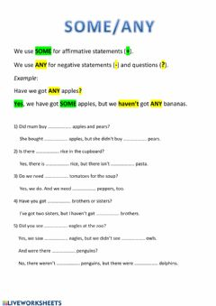 Interactive worksheet Some-any