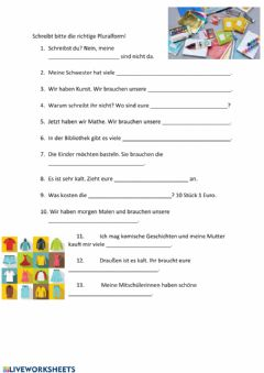 Interactive worksheet Plural Schulsachen