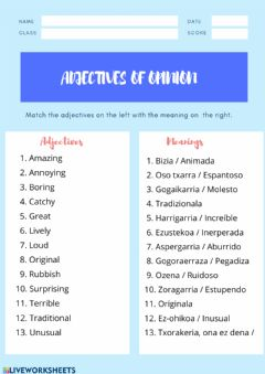 Interactive worksheet Adjectives of opinion