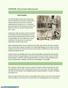 Interactive worksheet The Adventures of Huckleberry Finn Chapter 1