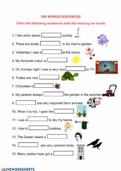 Interactive worksheet OW Words Fill-in